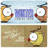 Winter vector card with funny cartoon deer and text. — Vetor de Stock