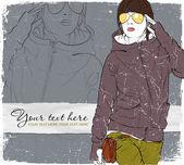 ヴィンテージ傷甘いファッションの女の子の背景. — ストックベクタ