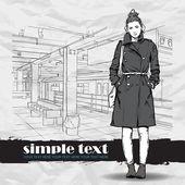 Piękne dziewczyny w stylu szkic na stacji metra. ilustracja wektorowa — Wektor stockowy