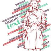 Piękne zimowe dziewczyna styl szkic. ilustracja wektorowa — Wektor stockowy