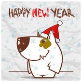 Vánoční přání s legrační psí charakter. vektorové ilustrace — Stock vektor