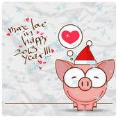 Carte de voeux Noël avec personnage drôle de cochon. illustration vectorielle — Vecteur