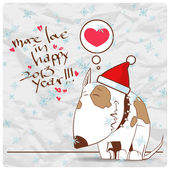 Greeting christmas card with funny doggy character. Vector illustration — Wektor stockowy