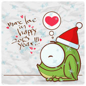Greeting christmas card with funny frog character. Vector illustration — Stock Vector