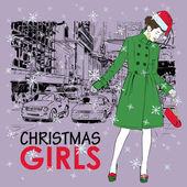 可爱的圣诞女孩街头背景上。矢量插画 — 图库矢量图片