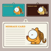 Set of vector message cards with cartoon tiger character. — Stock Vector