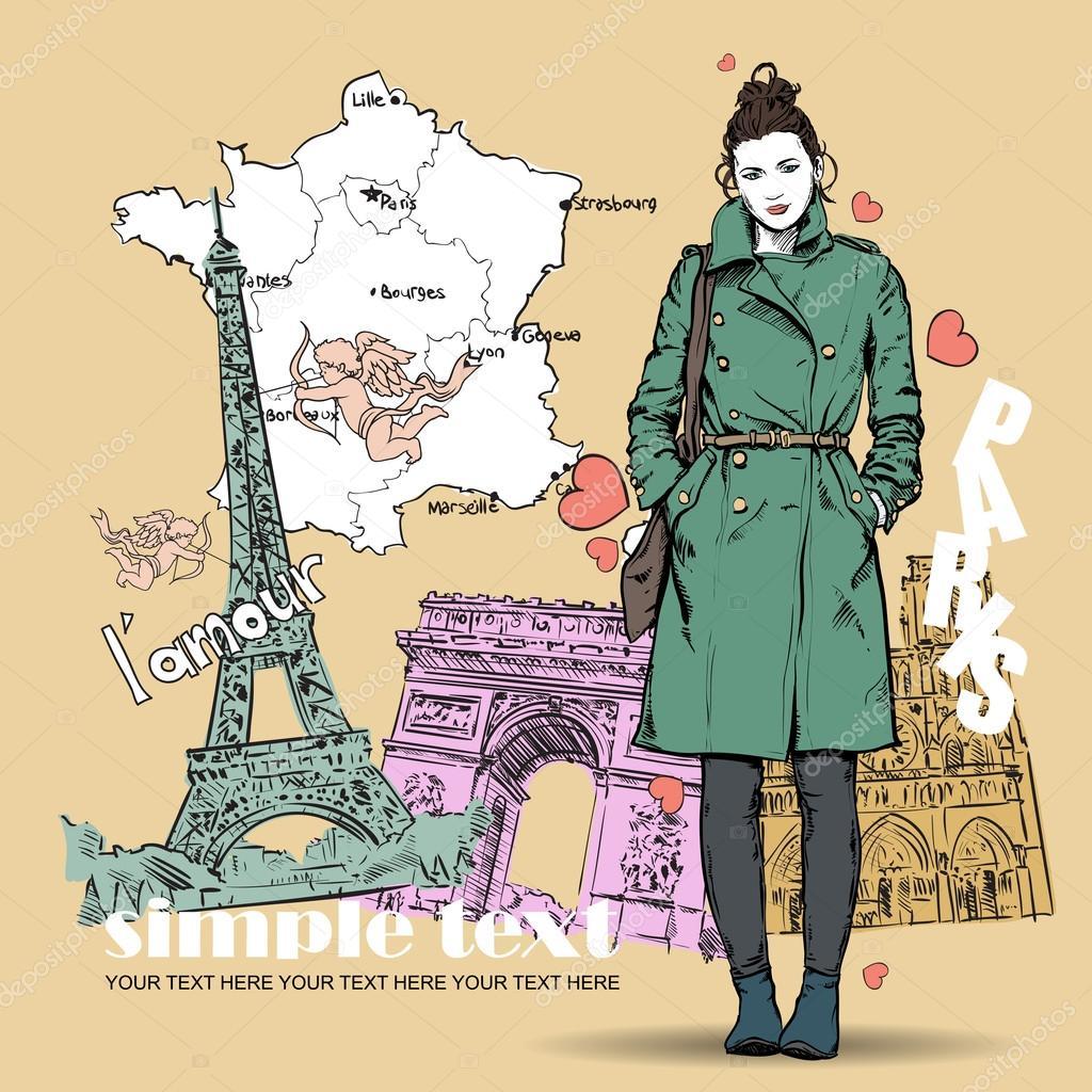 可爱冬季女孩在法国背景上的素描样式