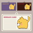 Set of vector message cards with cartoon cat character. — 图库矢量图片