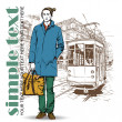 Vector illustration of a stylish guy and old tram. — Stockvectorbeeld