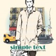 Stylish young guy on a street-background. Vector illustration. - Stock Vector