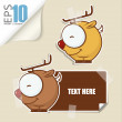 Set of message card with cartoon deer and paper deer fixed with sticky tape. Vector illustration. — Stock Vector #22329539