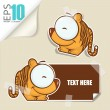 Set of message card with cartoon tiger and paper tiger fixed with sticky tape. Vector illustration. — Stock Vector