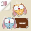 Set of message card with cartoon bunny and paper bunny fixed with sticky tape. Vector illustration. - Vektorgrafik