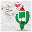 Greeting christmas card with funny cactus character. Vector illustration - Stock Vector