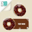Set of vector message cards with cartoon donuts. — Stock Vector