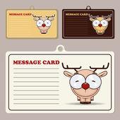 Set of vector message cards with cartoon deer character. — Stock Vector