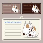 Conjunto de tarjetas de mensaje vector con perrito personaje de dibujos animados. — Vector de stock