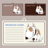 Set of vector message cards with cartoon doggy character — Stock Vector