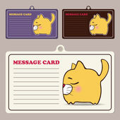 Set of vector message cards with cartoon cat character. — Stock Vector