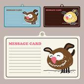 犬の漫画のキャラクターを持つベクトル メッセージ カードのセット. — ストックベクタ