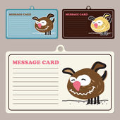Verzameling van vector bericht kaarten met hondje stripfiguur. — Stockvector