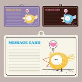 Set of vector message cards with cartoon bird character. — Stock Vector