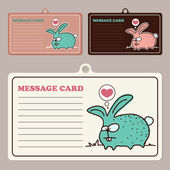 Set of vector message cards with cartoon bunny character. — Stock Vector