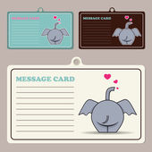 Set of vector message cards with cartoon elephant character. — Stock Vector
