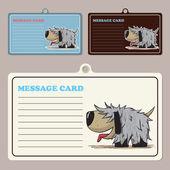 Set di carte di vettore messaggio con doggy personaggio dei cartoni animati. — Vettoriale Stock