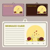 Conjunto de cartões de mensagem do vetor com o personagem de desenho animado caracol — Vetor de Stock