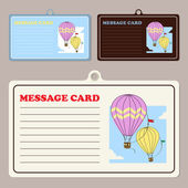 Set of vector message cards with hot air balloon. — Stock Vector