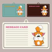 猫の漫画のキャラクターを持つベクトル メッセージ カードのセット. — ストックベクタ