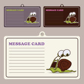 Set of vector message cards with cartoon snail character. — Stock Vector