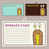 Set of vector message cards with cartoon snail character — 图库矢量图片