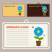 Set of vector message cards with cartoon flower character and bee. — Stock Vector