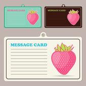 套卡通草莓与矢量消息卡. — 图库矢量图片