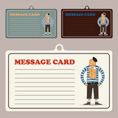 Set of vector message cards with cartoon french man character. — Stock Vector