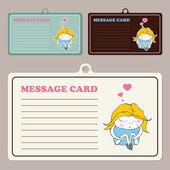 套与卡通睡女孩字符向量消息卡. — 图库矢量图片