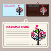 Set of vector message cards with birdhouses and tree. — Stock Vector