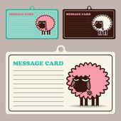 Set di carte di vettore messaggio con cartone animato di pecora. — Vettoriale Stock