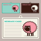 Set of vector message cards with cartoon sheep character. — Stock Vector