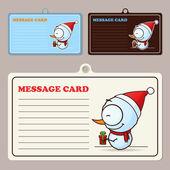 套卡通雪人字符向量消息卡. — 图库矢量图片