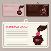 Set of vector message cards with hand, piggy bank and heart. — Stock Vector