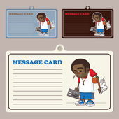 Set of vector message cards with streetball character. — Stock Vector