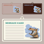 Jeu de cartes message vector avec doggy personnage de dessin animé. — Vecteur