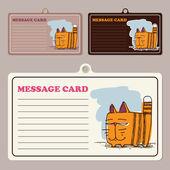 套卡通猫性格与矢量消息卡. — 图库矢量图片