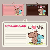 Set of vector message cards with cartoon bear character. — Cтоковый вектор