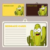 Conjunto de tarjetas de mensaje vector con el personaje de dibujos animados cactus. — Vector de stock