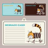Set di carte di vettore messaggio con cartone animato gatto. — Vettoriale Stock