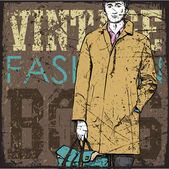 Stylish dude on a grunge background. Vector illustration. — Stok Vektör